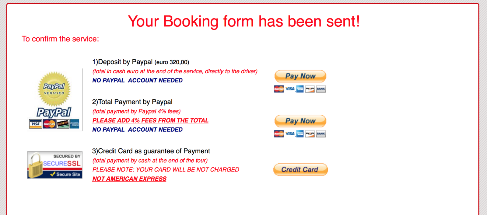 Booking form Tuscany tour